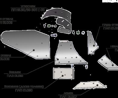 Запасные детали к корпусу плуга сполувинтовым отвалом ПЛП-01.000